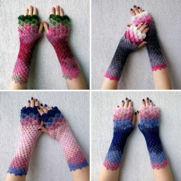 Перчатки с чешуей