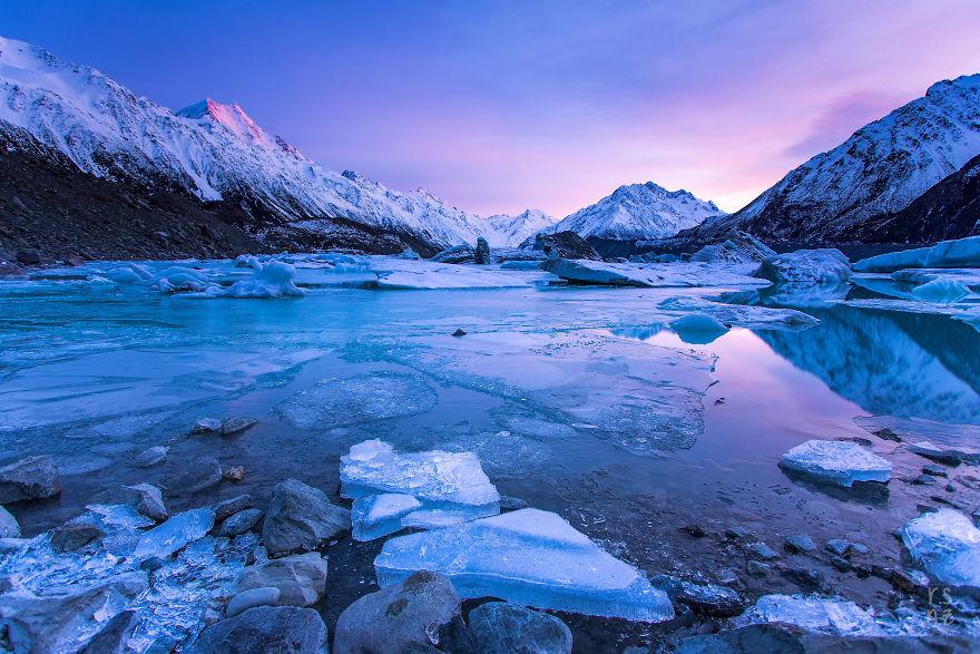 Ледник Тасмана в Новой Зеландии